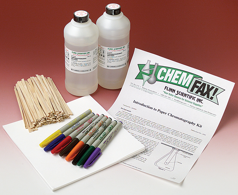 an introduction to paper chromatography A) use paper chromatography to identify whether certain colored inks are pure  substances or mixtures b) obtain a paper chromatogram c) identify components .