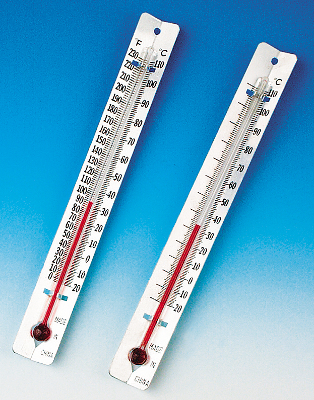 Metal-backed Thermometer, Celsius/Fahrenheit