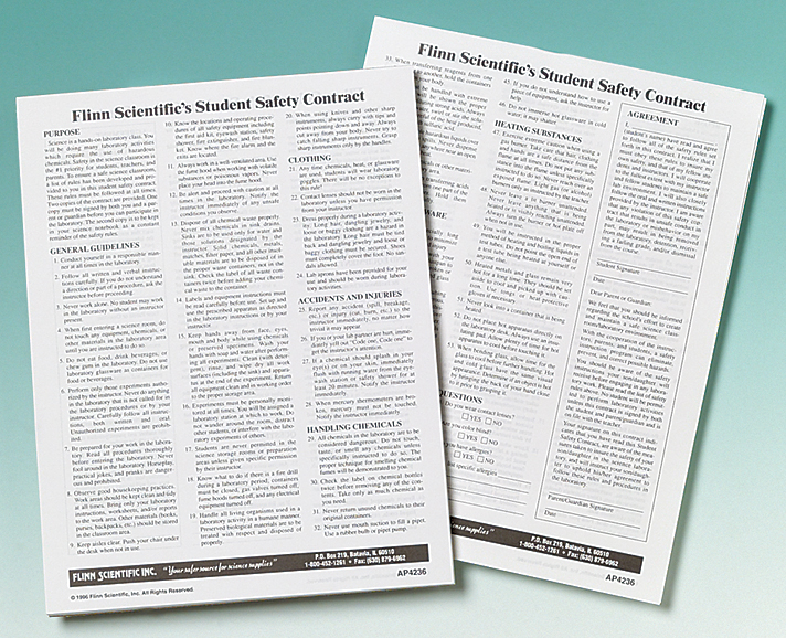 Laboratory Safety Contract For Science Students