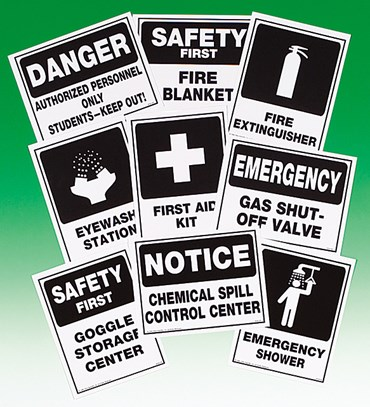 Personal Lab Safety and Emergency Equipment Signs