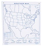 North American Weather Map Wall Chart for Earth Science and Meteorology