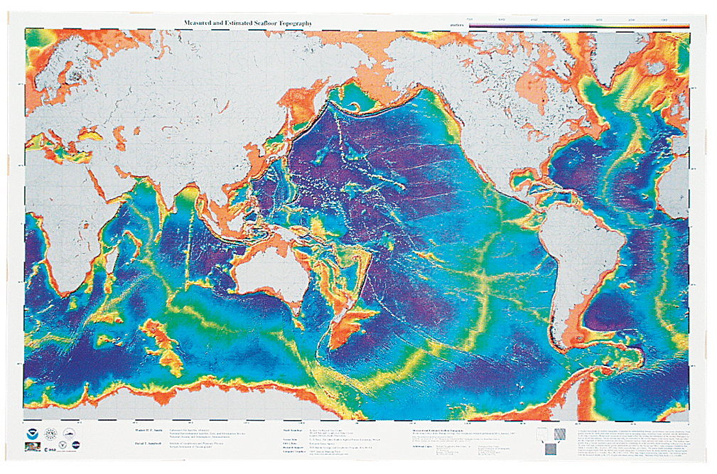 Ocean Floor Elevation Map : Ocean floor topography map for earth science