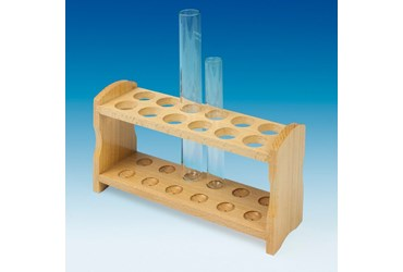 Wooden Double-Row Test Tube Rack for 22 mm Tubes