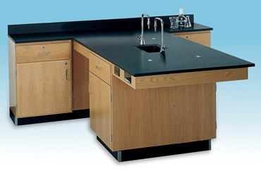 4-Student Perimeter Lab Station for Science Classroom with Fixtures