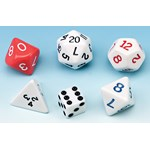 dice, mutli-sided dice, coins