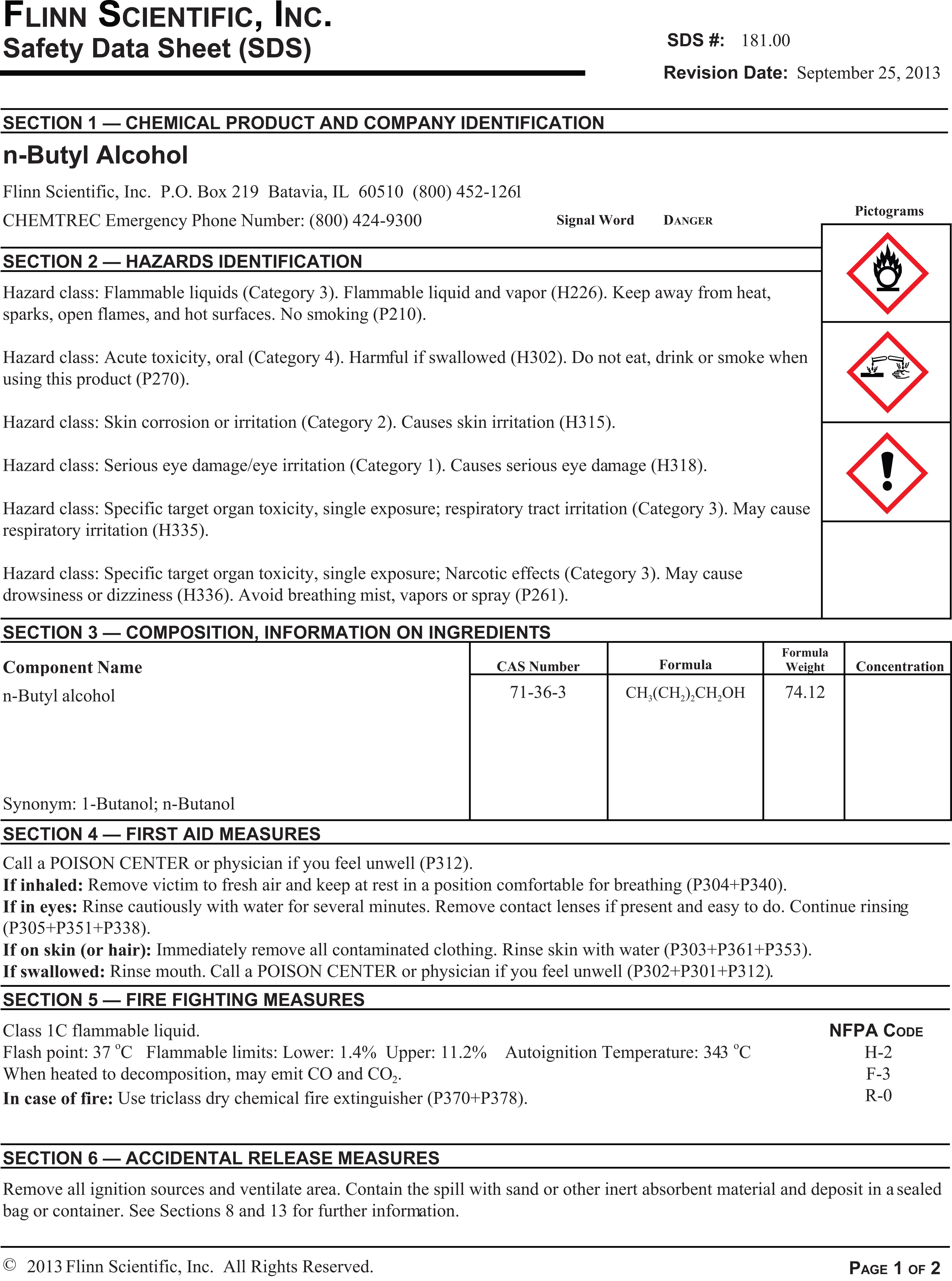 Flinn Safety Data Sheet Sds Library