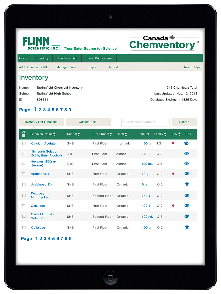 Compatible chemical families complete set of 840 labels flinns online chemventory 5 year license gamestrikefo Gallery