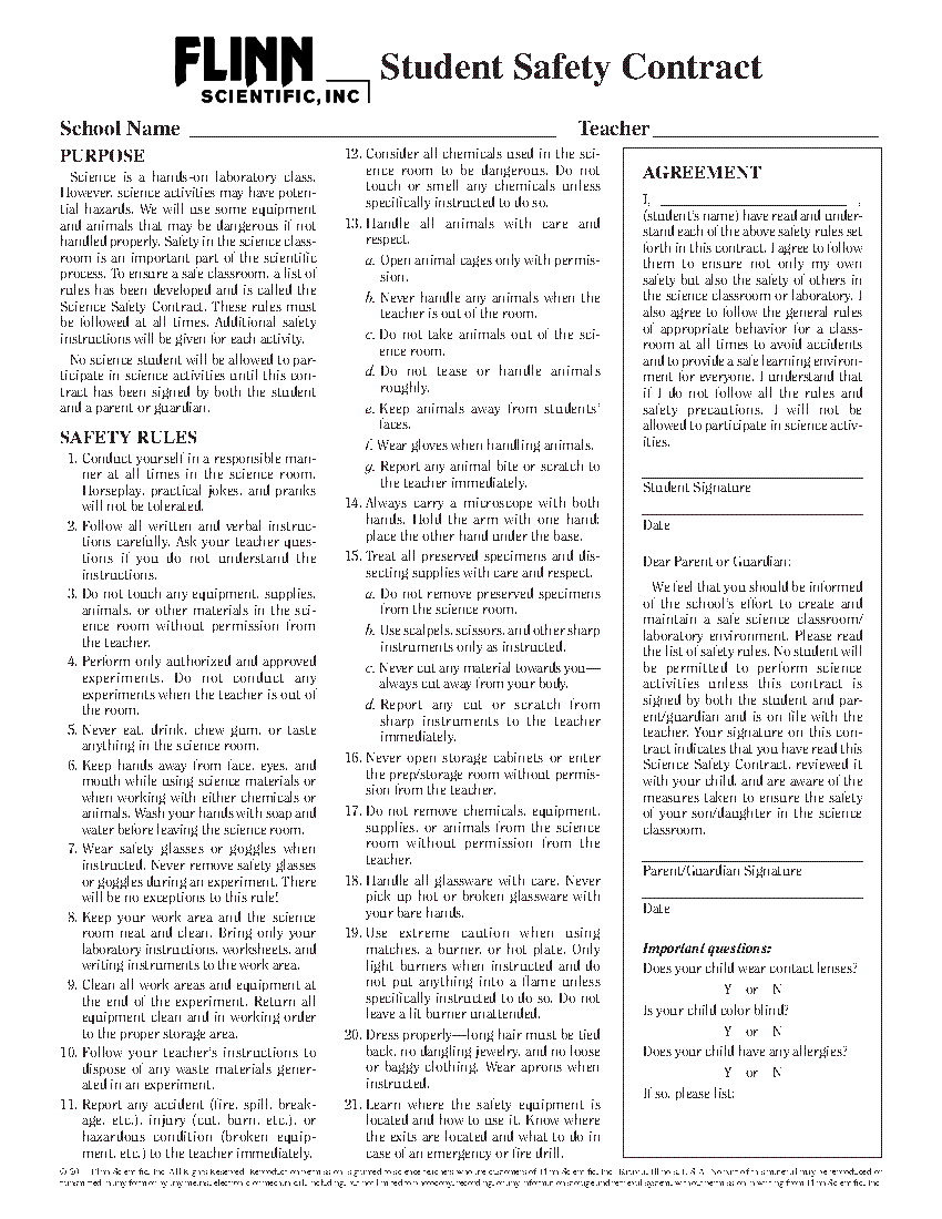 Safety Contracts Exams – Lab Safety Worksheet