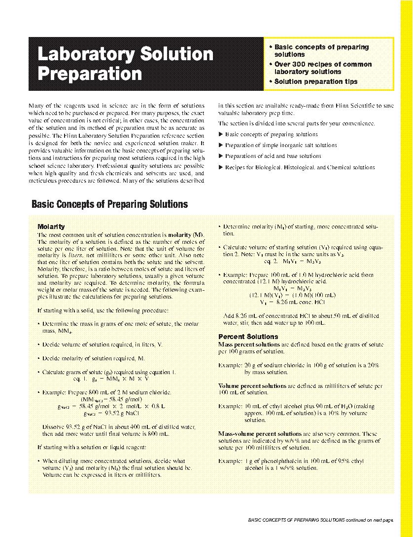 Laboratory Solution Preparation. firewatch