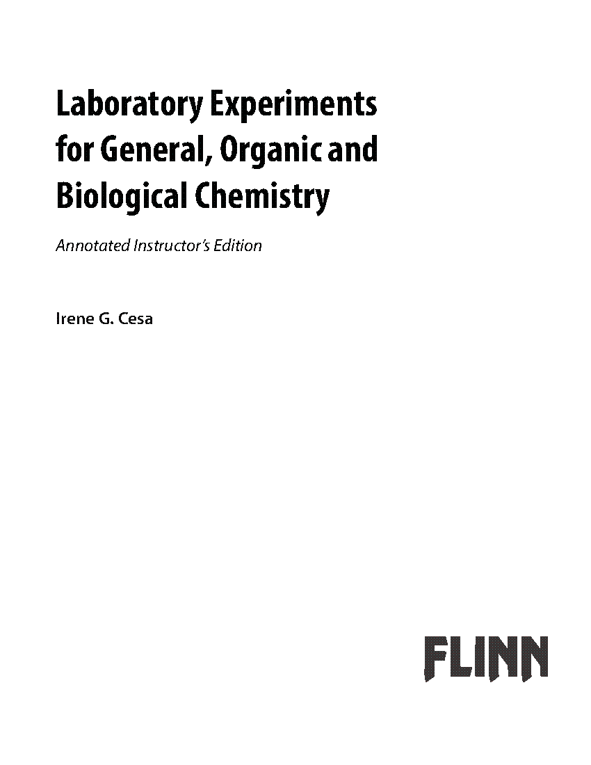 Table of Contents for GOB Flinn Lab Manual