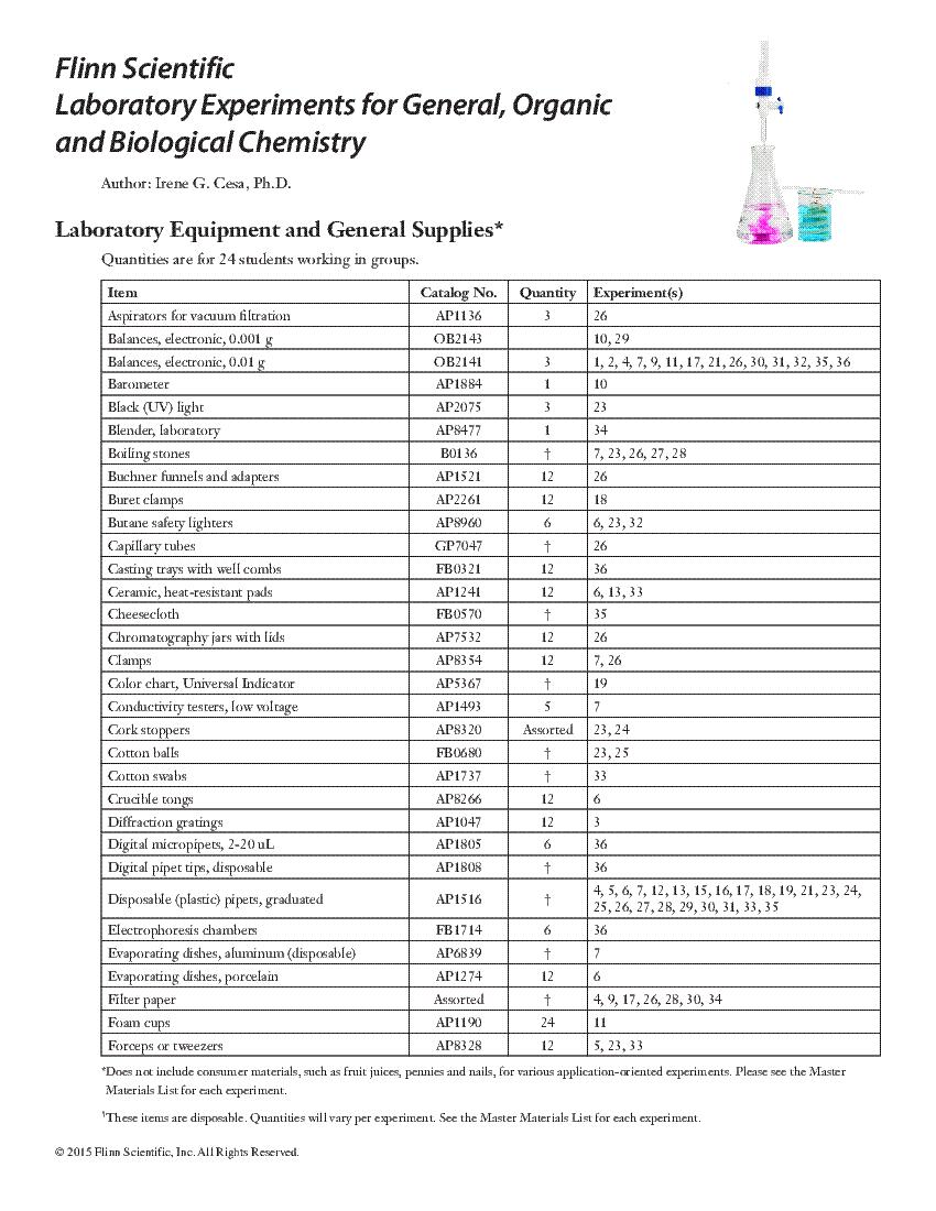 Lab Equipment & Supplies List for GOB Flinn Lab Manual
