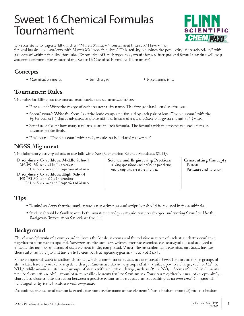 Sweet 16 Chemical Formulas Tournament