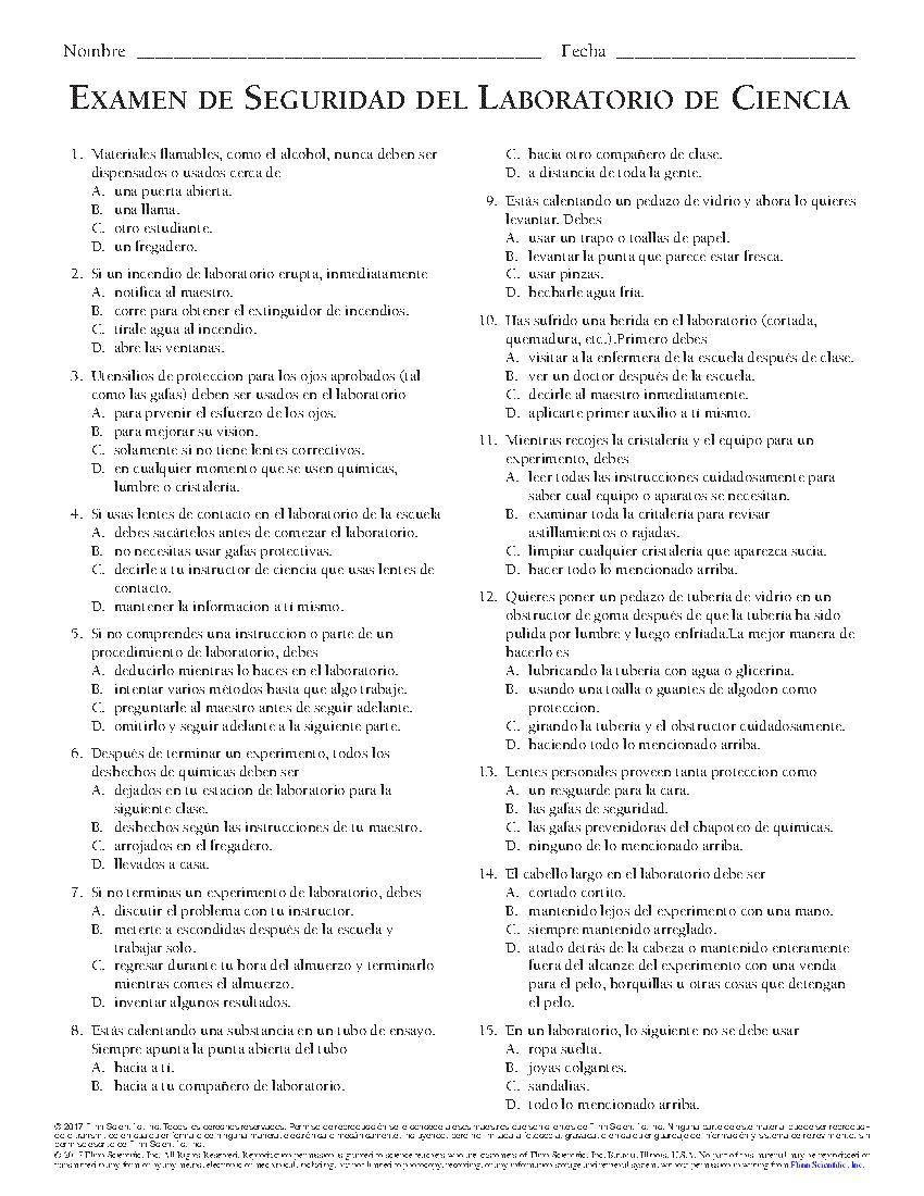 High School Student Safety Exam - Spanish