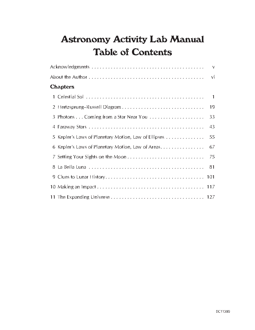 Table of Contents: Astronomy Activity Lab Manual